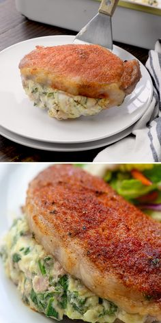 Spinach Stuffed Pork Chops – they're baked in the oven so they're extra easy and ready in about 30 minutes! Spinach Stuffed Pork Chops – they're baked in the oven so they're extra easy and ready in about 30 minutes! Salmon Recipes, Pork Recipes, Chicken Recipes, Cooking Recipes, Healthy Recipes, Stuffed Porkchops Recipes, Quick Pork Chop Recipes, Pork Cutlet Recipes, Cooking Cake
