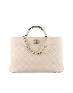 Large shopping bag, lambskin & gold-tone metal-beige - CHANEL