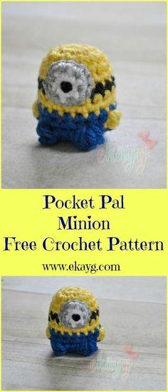 #haken, gratis patroon (Engels), sleutelhanger, minion, #haakpatroon, #crochet, free pattern, keychain