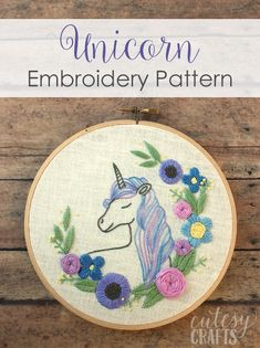 Free Floral Unicorn Embroidery Pattern!