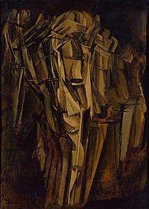 Marcel Duchamp, Nude (Study), Sad Young Man on a Train (Nu [esquisse], jeune homme triste dans un train), 1911–12. Collection Online   Browse By Movement   Cubism - Guggenheim Museum