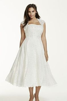 Keep it short and sweet with a chic and affordable tea length wedding dress for your big day. Shop the collection of short gowns now at Davids Bridal! Plus Size Wedding Gowns, Tea Length Wedding Dress, Tea Length Dresses, Bridal Wedding Dresses, Plus Size Dresses, Wedding Attire, Bridal Shoes, Wedding Hair, Short Dresses