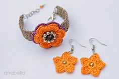Pulsera de ganchillo naranja violeta y pendientes por Anabelia