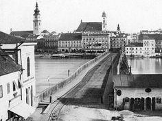 Holzbrücke mit Blick nach Linz (1865)