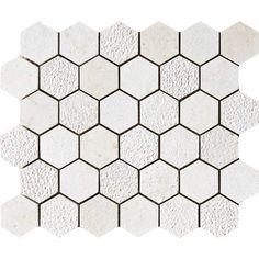 Heartsmere Textured 10 3/8x12 Hexagon Limestone Mosaics.