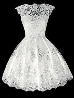 Ericdress Plain Short Sleeve Hollow Lace Dress Lace Dresses
