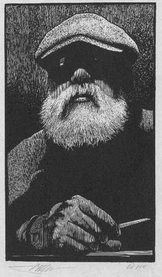 Barry Moser  Self Potrait with Burin  Wood Engraving 125x73mm