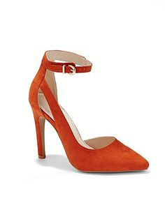 Germain Ankle-Strap Pump - New York & Company Eva Mendes Collection, New York And Company, Trends, Suede Pumps, Red Shoes, Types Of Shoes, Just In Case, Ankle Strap, High Heels