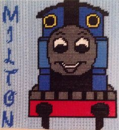 Cross Stitch Thomas the Train with name (MILTON) by Marcelle Powell