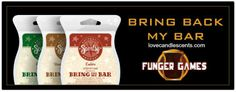 Scenty's Bring Back My Bar Funger Games event has started!  During the month of January, 20 select retired scents are available once again for purchase.  Your favorites voted for by Scentsy customers.  Available from January 1 - January 31, 2014 at http://scentsandoilsstore.weebly.com.  $5 for 1, $14 for 3 or $25 for 6 (Buy 5 Get 1 FREE!). #scentsy #bringbackmybar