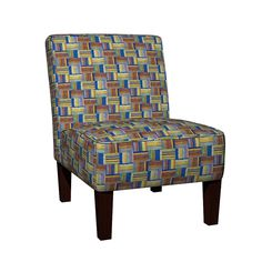 Maran Slipper Chair featuring SAILING BLUE YELLOW PARQUETRY WOOD MOSAIC PARQUET PLANK BOARDS TILES by paysmage | Roostery Home Decor