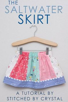 STITCHED by Crystal: Saltwater Skirt Tutorial with Riley Blake Fabrics Chanel lipstick Giveaway Sewing Kids Clothes, Sewing For Kids, Baby Sewing, Children Clothes, Little Girl Skirts, Skirts For Kids, Girls Skirt Patterns, Sewing Patterns, Coat Patterns