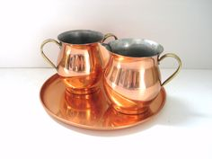 Cream and Sugar - Vintage Copper - Patina -