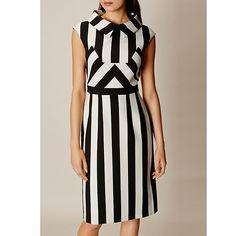 Buy Karen Millen Multi Stripe Dress, Black/White, 10 Online at johnlewis.com