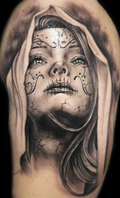Lovely black grey santa muerte girl tattoo