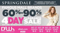 DFWh Springdale Pop Up Sale returns to the Cincinnati area October 27th-30th, open 10am-8pm Thursday-Saturday and 11am-6pm Sunday! #DFWhSpringdale