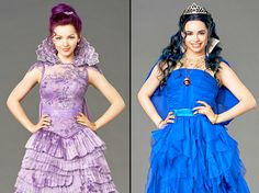 "Dove Cameron stars as Mal and Sofia Carson stars as Evie in Disney Channel's ""Descendants."" Here are their coronation scene costumes, designed by Kara Saun."