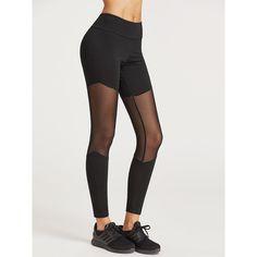 Black Mesh Insert Leggings (11 CAD) ❤ liked on Polyvore featuring pants, leggings, black, legging pants, mesh inset leggings, stretch pants, stretchy leggings and mesh panel leggings