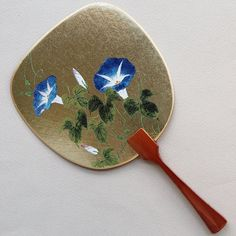Uchiwa-fan Greeting Card - Morning Glory Hand Held Fan, Hand Fan, Semi Transparent, Fans, Greeting Cards, Japanese, Traditional, Metal, Unique