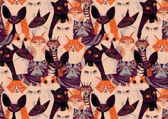 Self initiated pattern based on my love of cats and patterns. The pattern has 9 distinct cat breeds which all display exaggerated characteristics in a very limited palette.