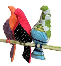 birds made of bits and pieces of fabric