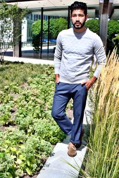 weekend stroll outfit, quilt crew sweater + plaid trousers // casual menswear fall style + fashion