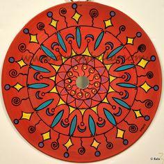 "Mandala, 2012. 9"", Textured henna style acrylics mandala painting on vinyl record with mirror. © Bala Thiagarajan, 2012. www.artbybala.com"