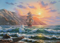 Ship Paintings, Watercolor Art Paintings, Seascape Paintings, Landscape Paintings, Old Sailing Ships, Pirate Art, Waves Photography, Boat Painting, Sea Art