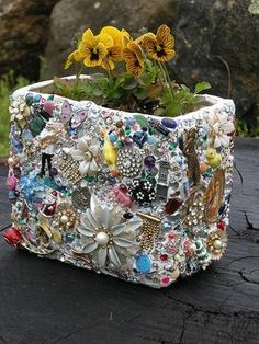 "Craft ideas 1821 - Pandahall.com (This is like someone stole my ""Treasures"" and used them to make this Flower Pot ) Nnooooooooo....."