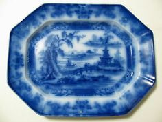 """EXCELLENT EARLY ANTIQUE FLOW BLUE PLATTER/RARE """"BEAUTIES OF CHINA"""" CIRCA 1800'S"""