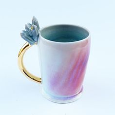 Sculpted Growing Crystal mug  by SilverLiningCeramics