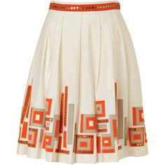 MILLY Ivory Perfect Pleated Date Skirt ($205) ❤ liked on Polyvore