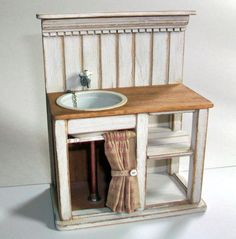 cute little 1:12 scale shabby chic sink - this would be perfect for a little beach house or boat house