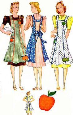 McCall's 726 c.1933 misses apron with applique. Click on broken link for pattern…