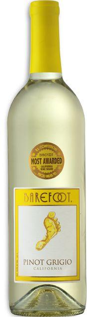 Barefoot Pinot Grigio Wine (California).  Tart green apple notes with white peach undertone, tastes of sweet summer.