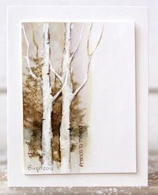 Stamps from #Penny_Black and the negative of a die from Memory Box for this card in beige/light browns shades.  Trees from Prancers Sentiment from Snippets | #Rapport från ett skrivbord