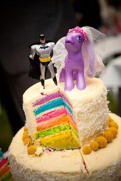 Rainbow Cake, Cake Toppers, Fun wedding, unique wedding, my little pony, batman Colourful and fun wedding, yellow and blue wedding, style and bride , www.styleandbride.com
