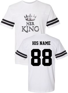 King Cotton Jersey / Couples Apparel / Couples Jersey / Wedding / Couples Apparel has the best matching apparel for you and your significant other! King Queen Shirts, Matching Hoodies For Couples, Cute Disney Outfits, King Cotton, Cute Shirt Designs, Husband Gifts, Watch Football, Couple Shirts, Jersey Shirt