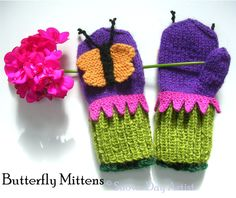 Butterfly Mittens Knitting Pattern with Bonus by SnowDayArtist