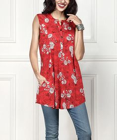 R&B Red Floral Sleeveless Button-Front Side-Pocket Tunic - Plus | zulily
