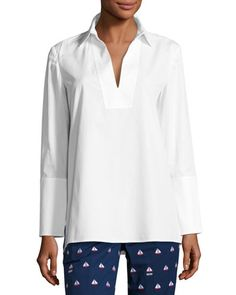 Tatum Long-Sleeve Cotton Tunic, White
