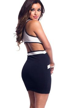 5a1d215969b Bandage Front Racer Back Black Bodycon Dress. SEXY AFFORDABLE CLOTHING