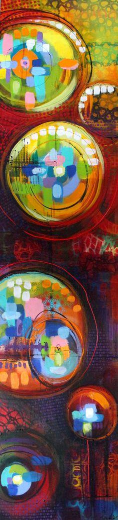 """Nancy Létourneau (Pixels) La joie de vivre, série TDAH 2016 Technique mixte sur toile galerie 14"""" x 60"""" Pixel, Stippling, Creations, Abstract, Painting, Art, Adhd, Joy Of Life, Canvas"""