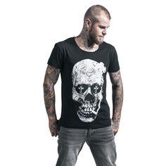 """Classica T-Shirt uomo nera """"Skull"""" del brand #Rockupy con scollo tondo e ampia stampa frontale."""