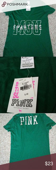 🆕 PINK MSU Spartans T NWT Flawless and perfect condition. No holes. No stains. No pilling. All sequins are laying flat.  Has a straight cut. Tag lists this as a large. Borders large/XL. Please reference measurements. Pic 1 shows true color. Michigan  Armpit to armpit 17 1/2 Inches Top to hem 27 inches Sleeves 6 1/2 inches V neck 9 inches  ⛔Please make offers thru the OFFER TAB ONLY. I DO NOT negotiate on the listing.⛔  ❌No trades ❌No modeling ❌No holds 68 PINK Victoria's Secret Tops Tees…