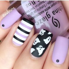 Purple ghosty nails by @melcisme using our Ghost Nail Decals & Straight Nail Vinyls found at snailvinyls.com