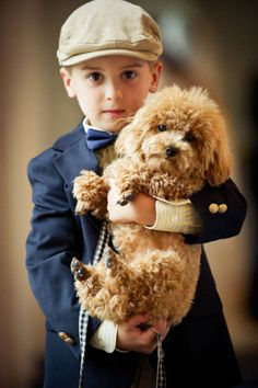 This makes me cry happy tears...    From his sweet expression, to his cap, bow tie, pin striped shirt, navy blazer with gold crested buttons, to his adorable poodle puppy, it reminds me of a very special son, that I dearly love.