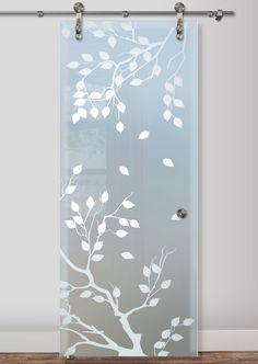 Don't choose an ordinary glass barn door; choose a work of art with San Soucie's art glass barn doors. Learn about our sliding glass barn doors for your home. Sliding Glass Barn Doors, Frosted Glass Interior Doors, Frosted Window, Glass Cabinet Doors, Pooja Room Door Design, Dining Room Design, Glass Etching Designs, Glass Wardrobe, Partition Ideas