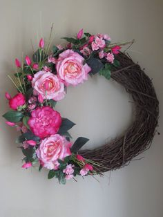 Hey, I found this really awesome Etsy listing at https://www.etsy.com/listing/266573152/easter-wreath-pink-wreath-spring-wreath