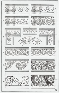 """From, """"A Handbook of Ornament"""". 1898 by Franz Sales Meyer. Zentangle Patterns, Embroidery Patterns, Border Design, Pattern Design, Wood Carving Patterns, Geometric Designs, Islamic Art, Machine Quilting, Textures Patterns"""